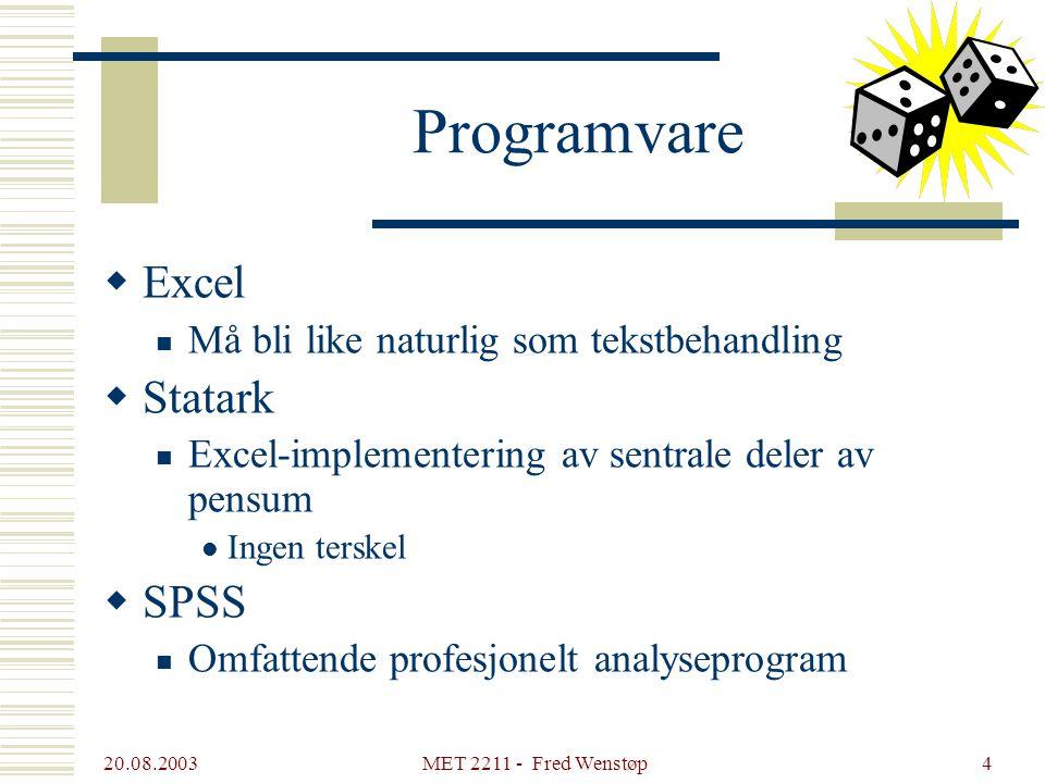 Programvare Excel Statark SPSS