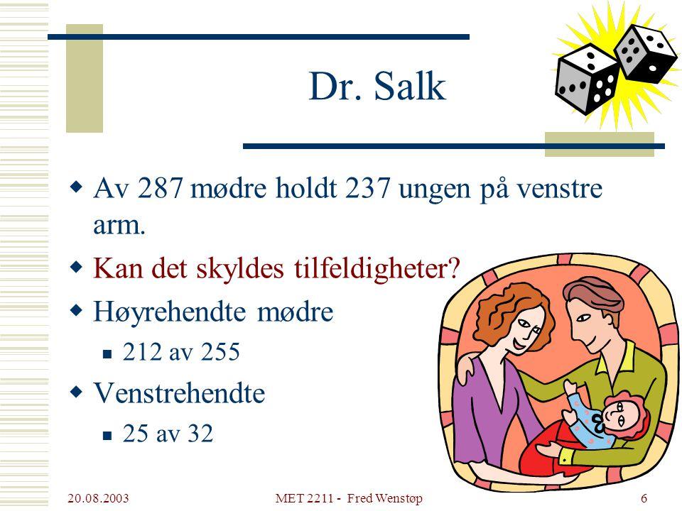 Dr. Salk Av 287 mødre holdt 237 ungen på venstre arm.
