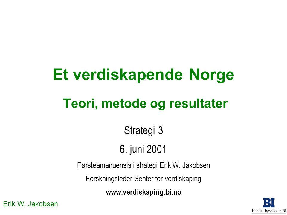 Et verdiskapende Norge Teori, metode og resultater