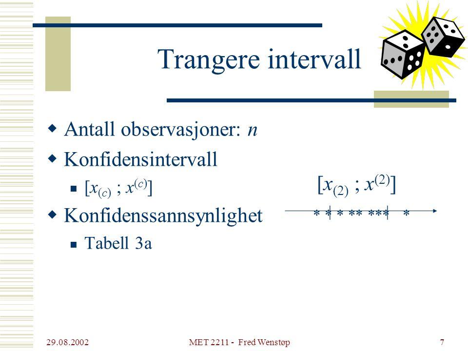 Trangere intervall Antall observasjoner: n Konfidensintervall