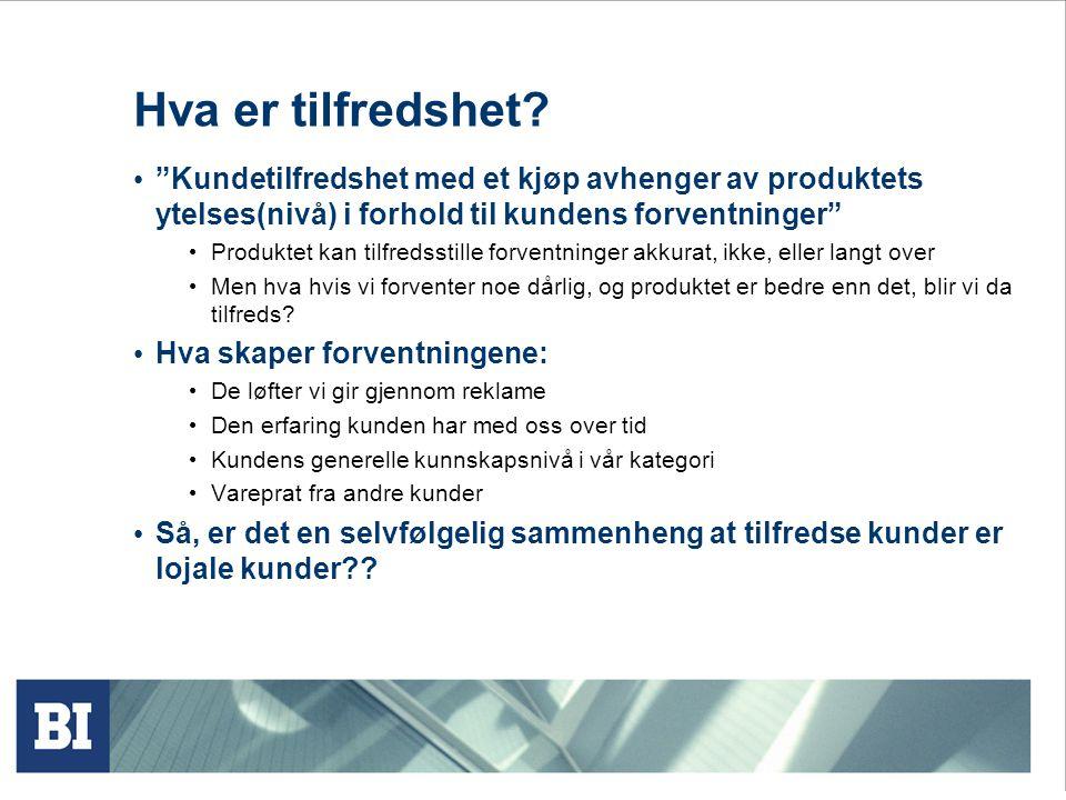 Hva er tilfredshet Kundetilfredshet med et kjøp avhenger av produktets ytelses(nivå) i forhold til kundens forventninger