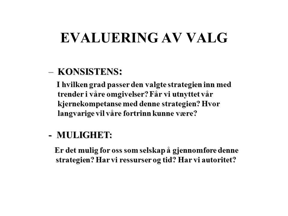 EVALUERING AV VALG KONSISTENS: - MULIGHET: