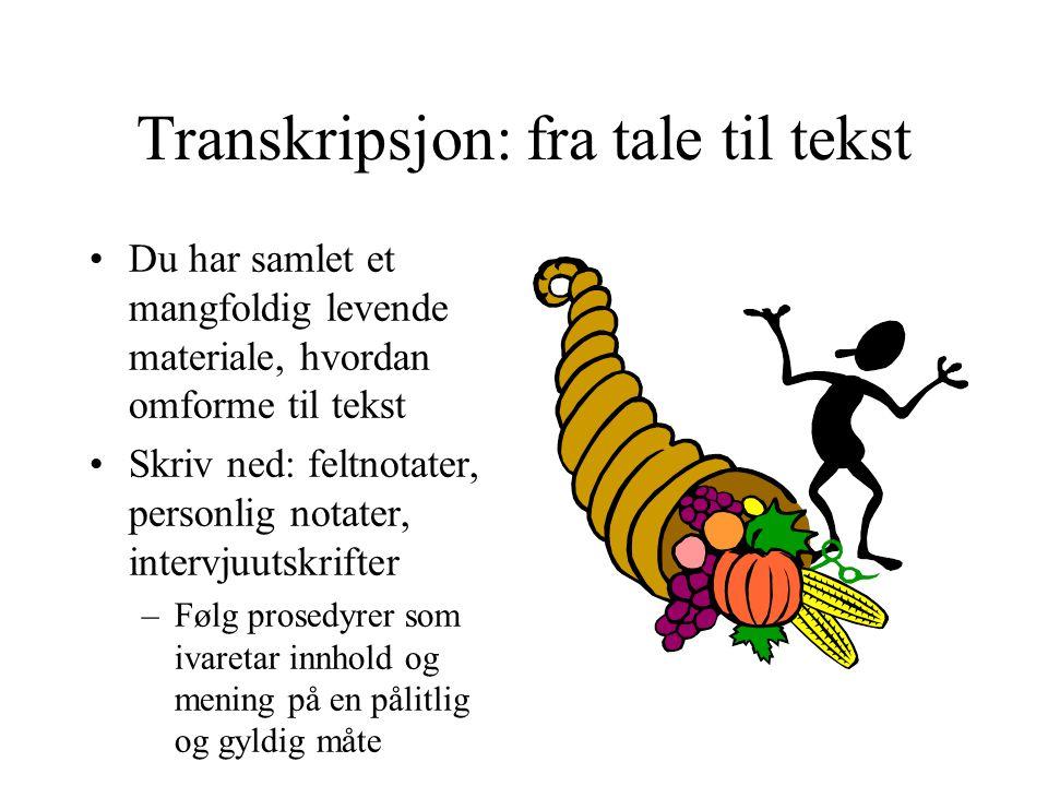 Transkripsjon: fra tale til tekst