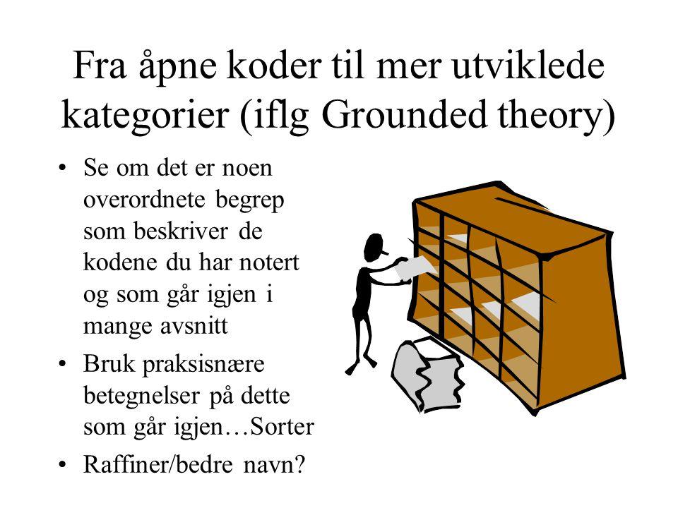 Fra åpne koder til mer utviklede kategorier (iflg Grounded theory)