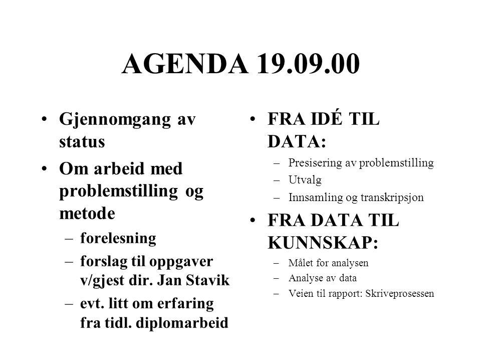 AGENDA 19.09.00 Gjennomgang av status