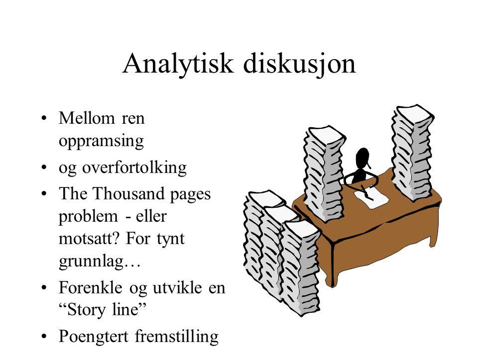 Analytisk diskusjon Mellom ren oppramsing og overfortolking