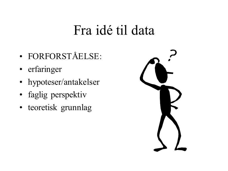 Fra idé til data FORFORSTÅELSE: erfaringer hypoteser/antakelser