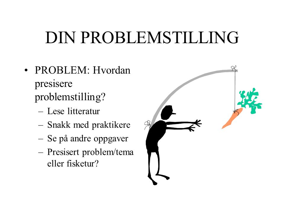 DIN PROBLEMSTILLING PROBLEM: Hvordan presisere problemstilling