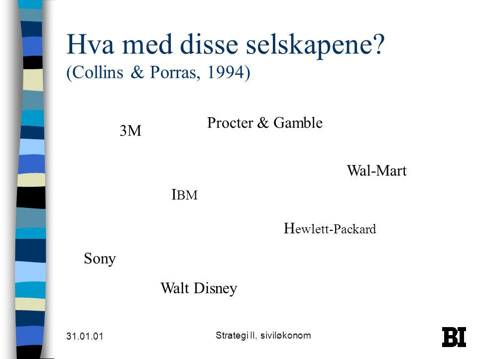 Hva med disse selskapene (Collins & Porras, 1994)