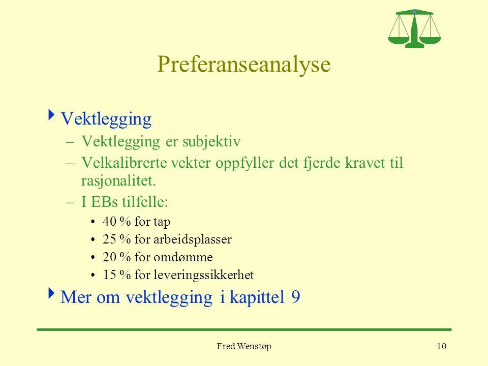 Preferanseanalyse Vektlegging Mer om vektlegging i kapittel 9