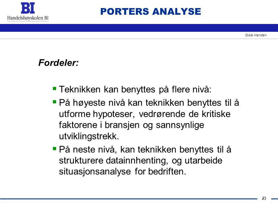 PORTERS ANALYSE Fordeler: Teknikken kan benyttes på flere nivå: