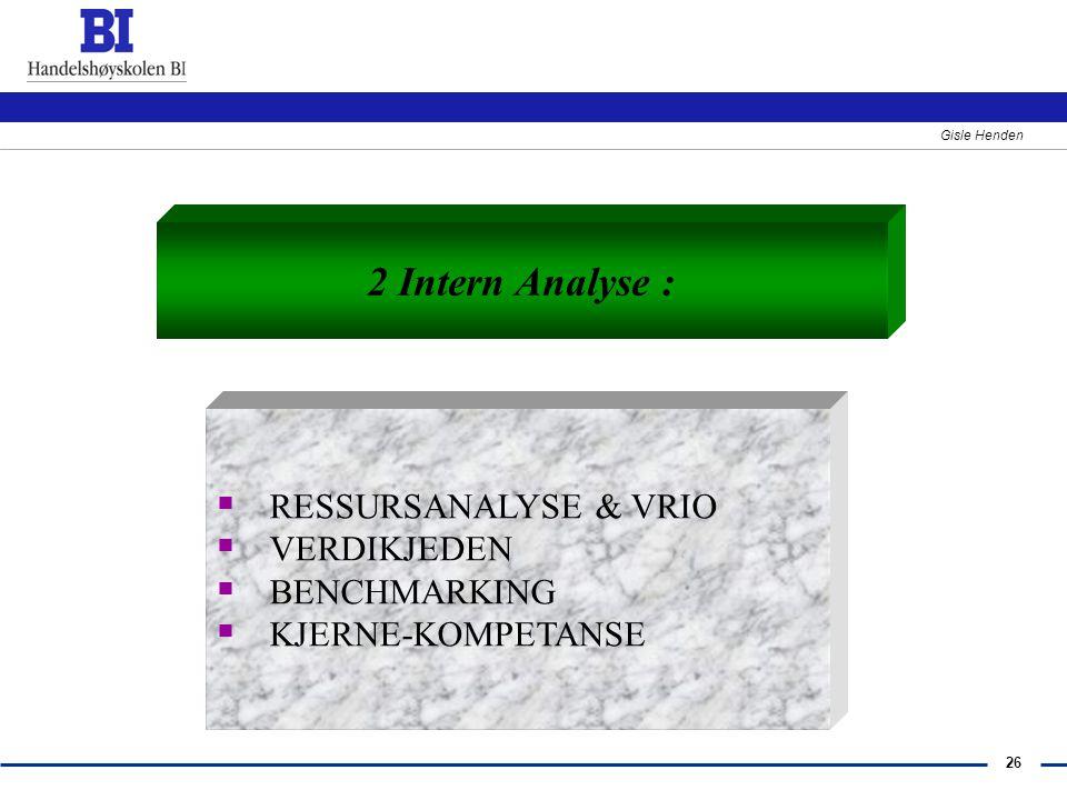 2 Intern Analyse : RESSURSANALYSE & VRIO VERDIKJEDEN BENCHMARKING
