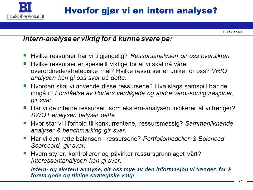 Hvorfor gjør vi en intern analyse