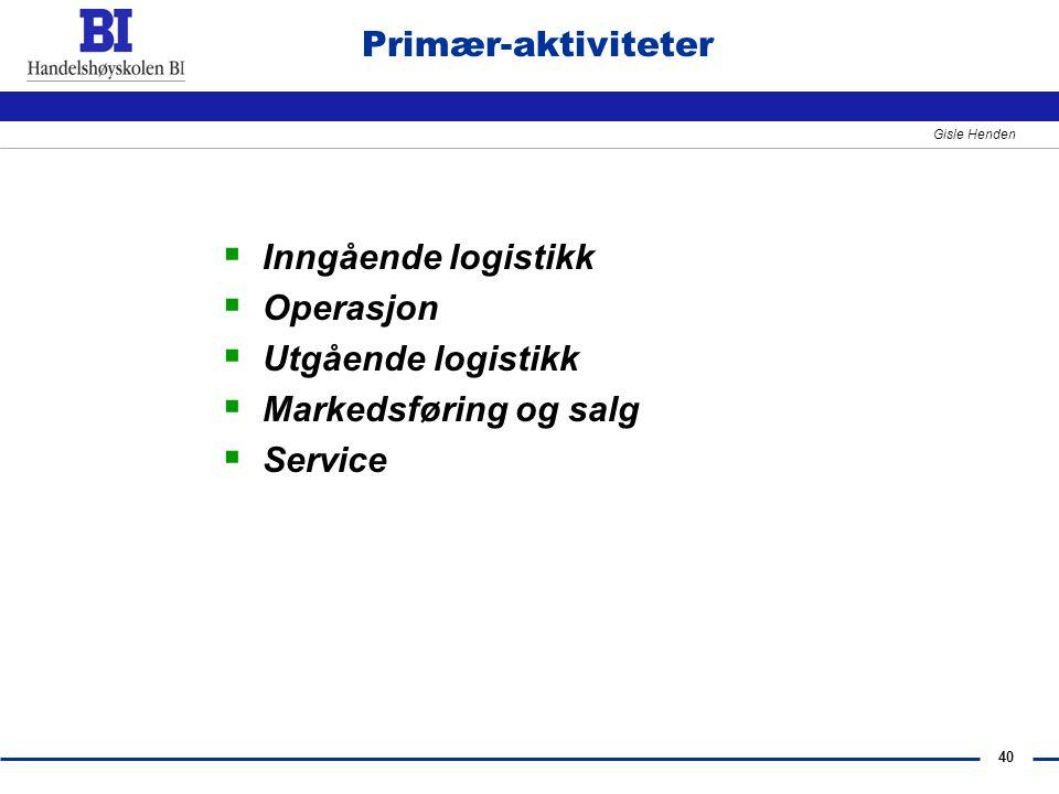 Primær-aktiviteter Inngående logistikk Operasjon Utgående logistikk Markedsføring og salg Service