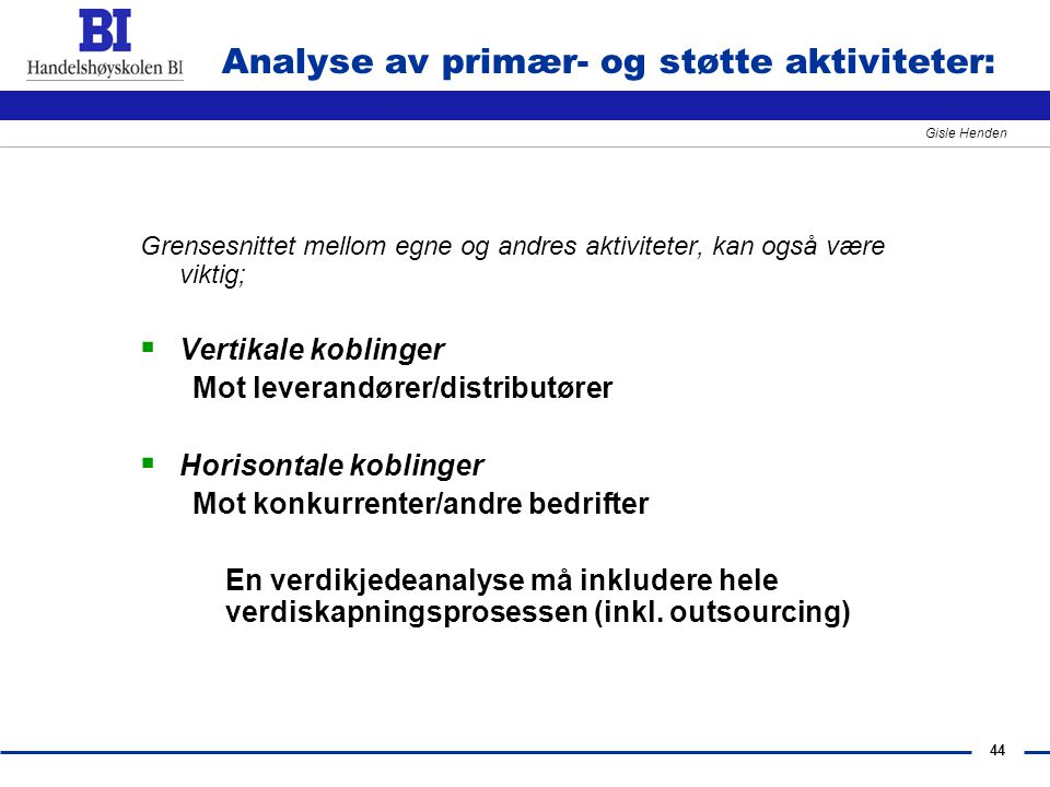 Analyse av primær- og støtte aktiviteter: