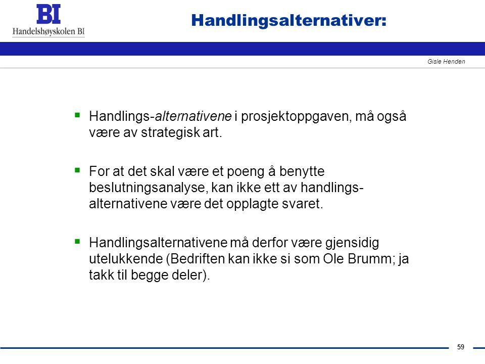 Handlingsalternativer: