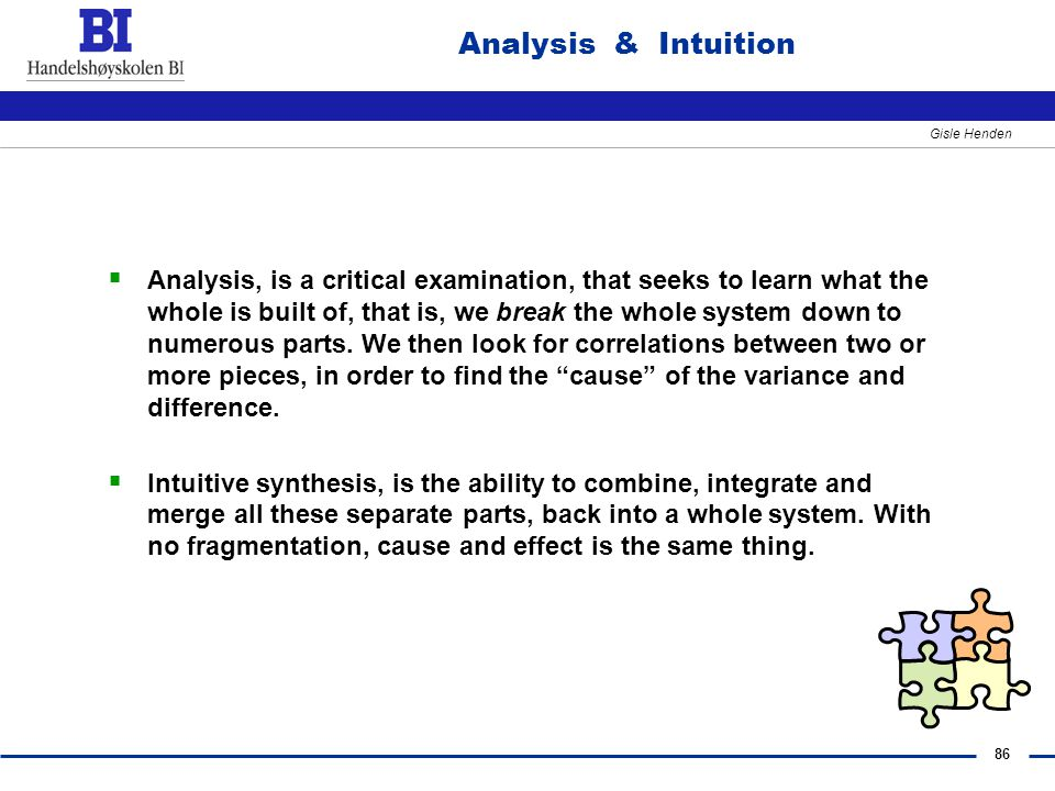 Analysis & Intuition