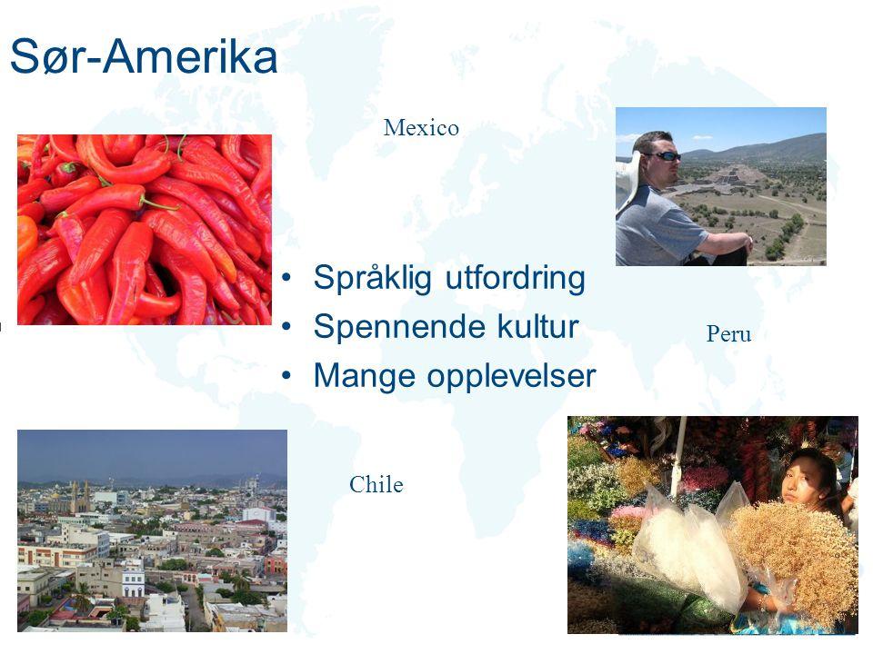 Sør-Amerika Språklig utfordring Spennende kultur Mange opplevelser
