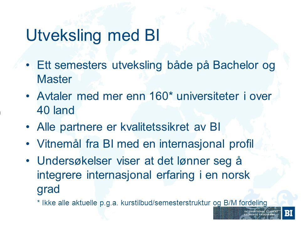 Utveksling med BI Ett semesters utveksling både på Bachelor og Master