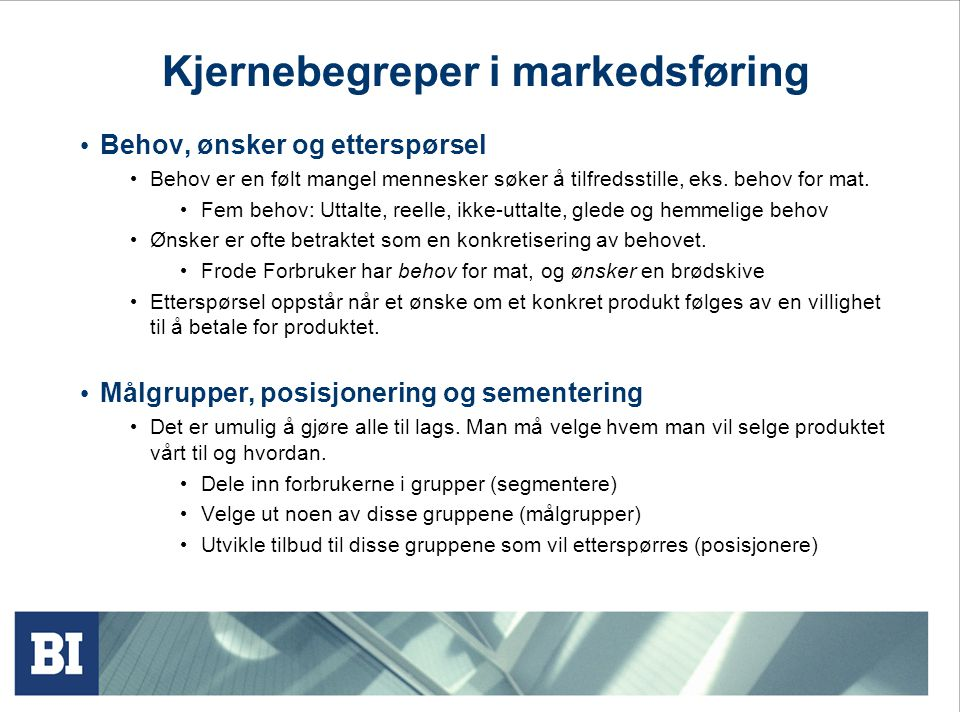 Kjernebegreper i markedsføring