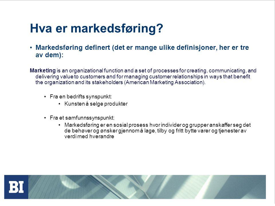 Hva er markedsføring Markedsføring definert (det er mange ulike definisjoner, her er tre av dem):