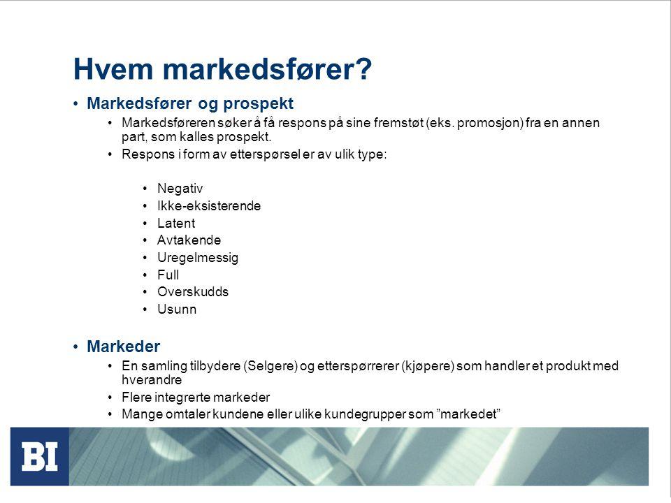 Hvem markedsfører Markedsfører og prospekt Markeder