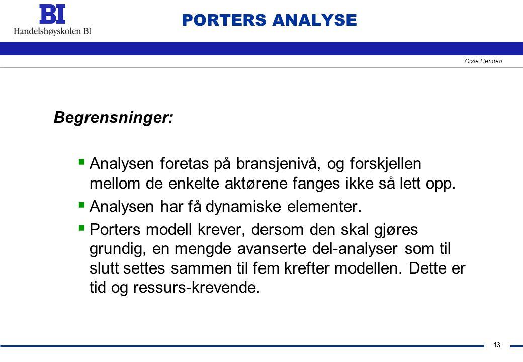 PORTERS ANALYSE Begrensninger: Analysen foretas på bransjenivå, og forskjellen mellom de enkelte aktørene fanges ikke så lett opp.