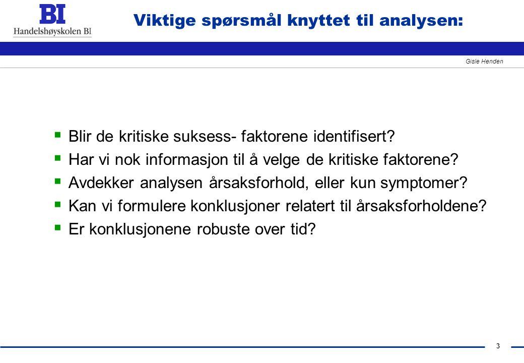 Viktige spørsmål knyttet til analysen: