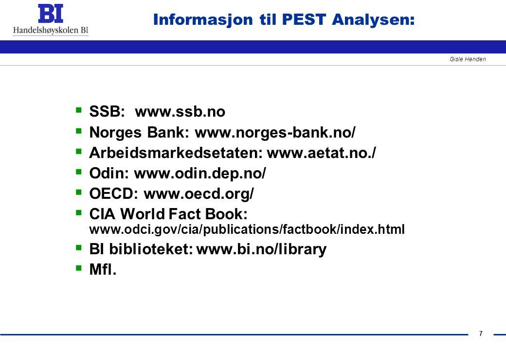 Informasjon til PEST Analysen: