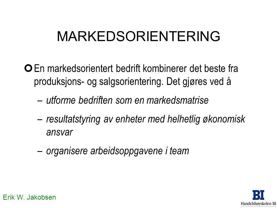 MARKEDSORIENTERING En markedsorientert bedrift kombinerer det beste fra produksjons- og salgsorientering. Det gjøres ved å.
