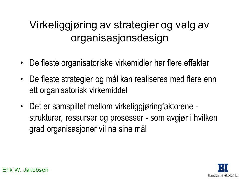 Virkeliggjøring av strategier og valg av organisasjonsdesign