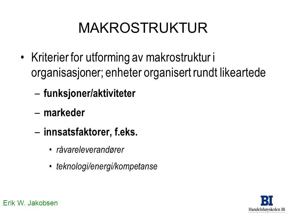 MAKROSTRUKTUR Kriterier for utforming av makrostruktur i organisasjoner; enheter organisert rundt likeartede.