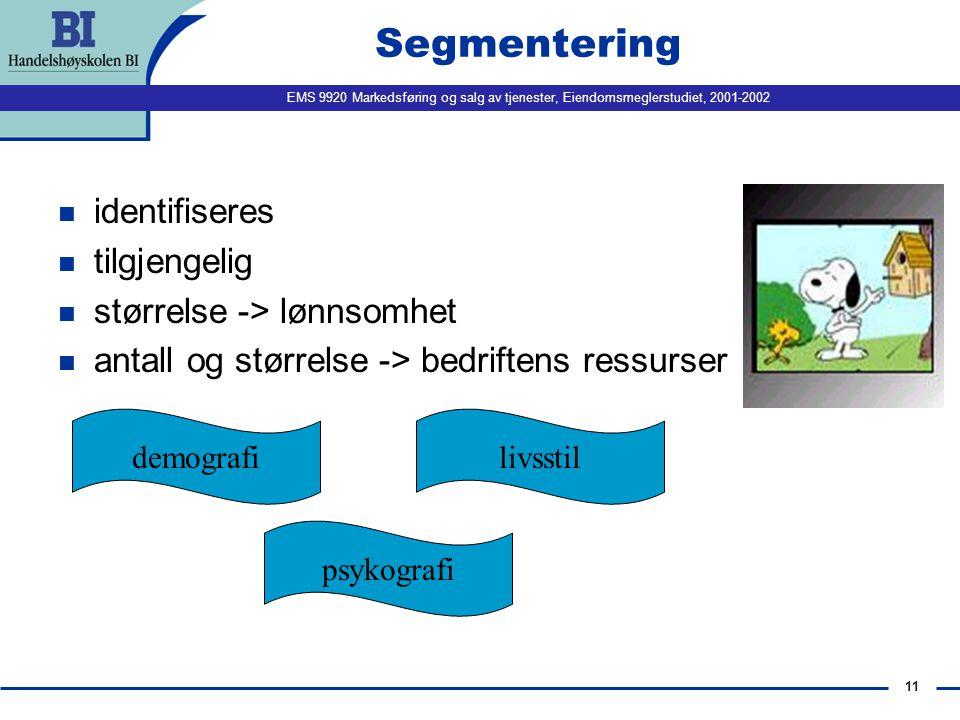 Segmentering identifiseres tilgjengelig størrelse -> lønnsomhet