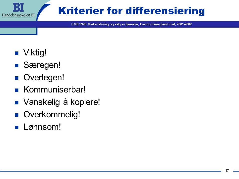 Kriterier for differensiering