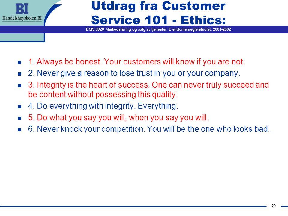 Utdrag fra Customer Service 101 - Ethics: