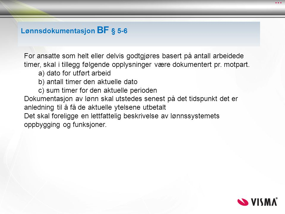Lønnsdokumentasjon BF § 5-6