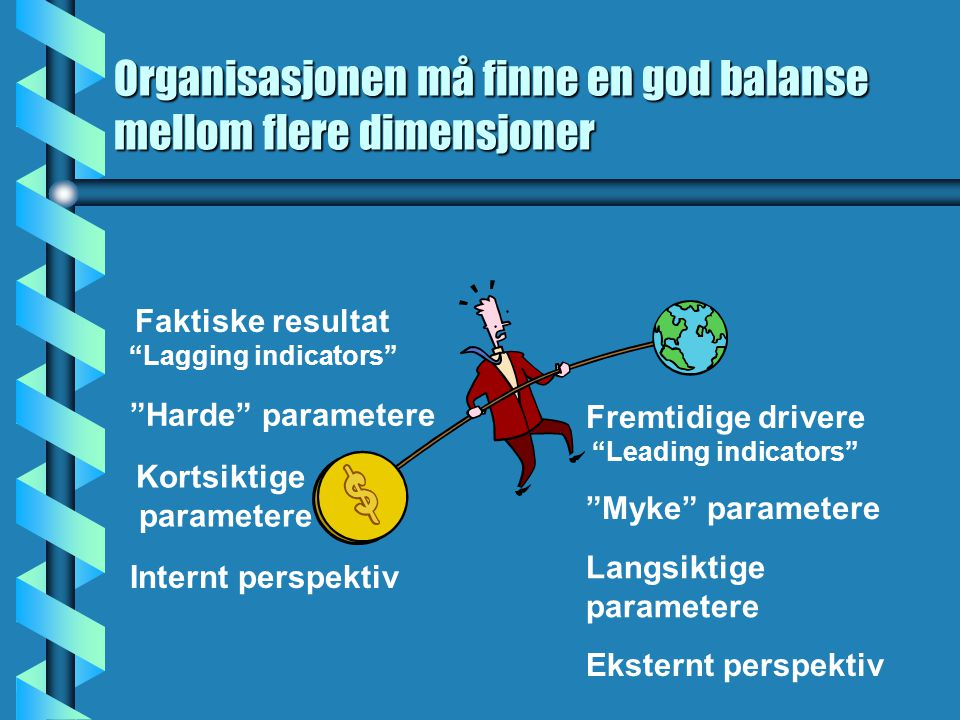 Organisasjonen må finne en god balanse mellom flere dimensjoner