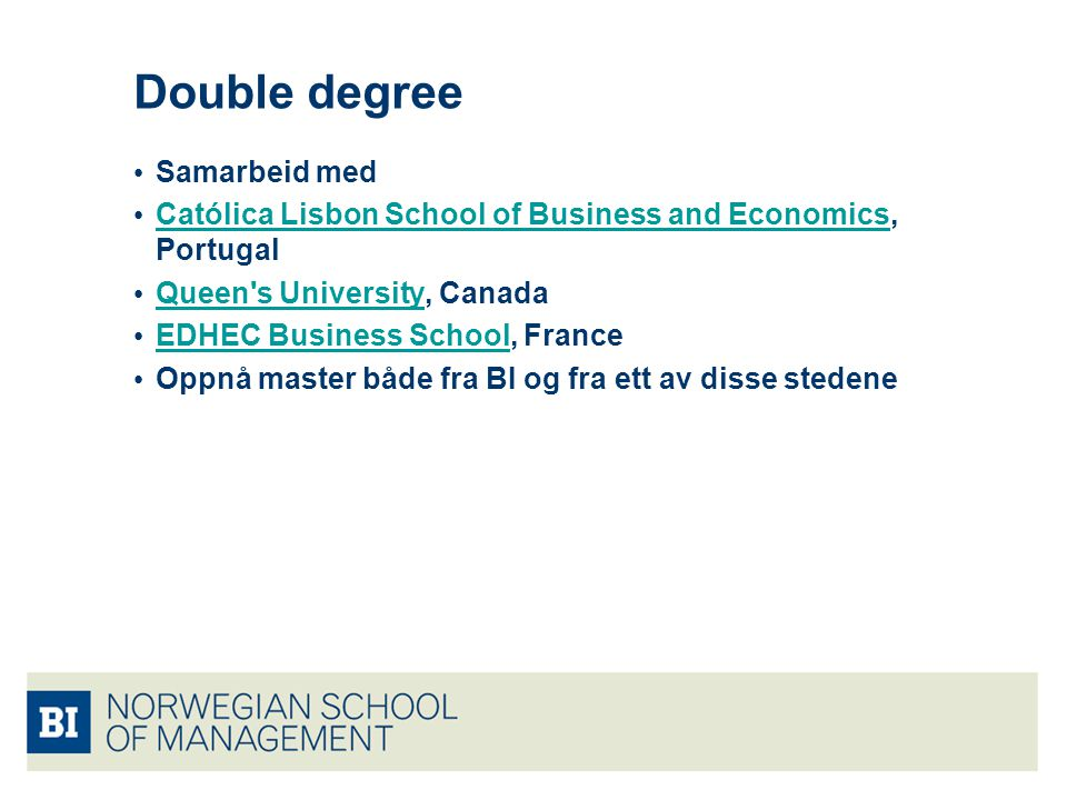 Double degree Samarbeid med