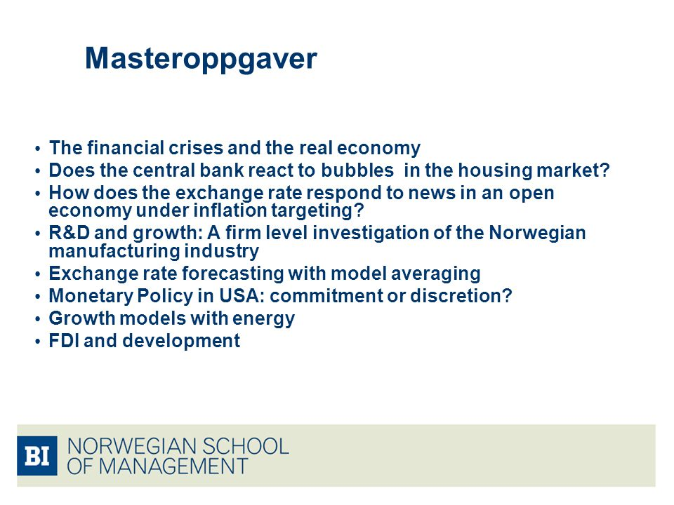 Masteroppgaver The financial crises and the real economy