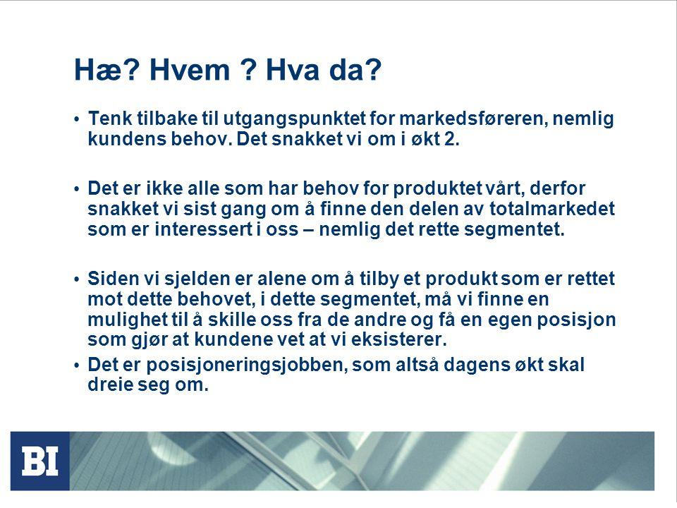 Hæ Hvem Hva da Tenk tilbake til utgangspunktet for markedsføreren, nemlig kundens behov. Det snakket vi om i økt 2.