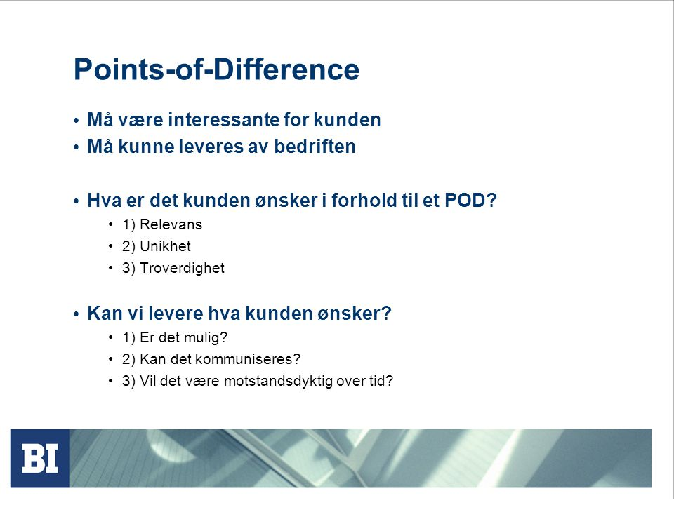 Points-of-Difference