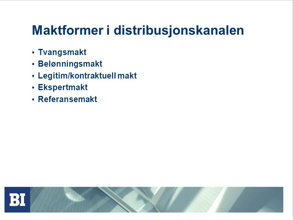 Maktformer i distribusjonskanalen