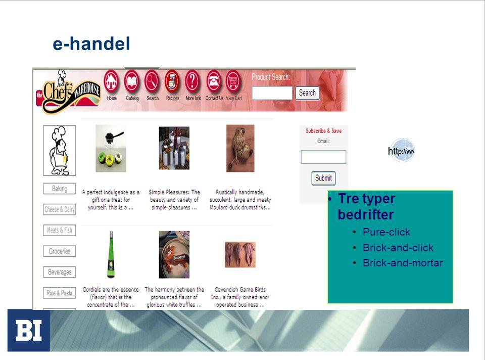 e-handel Tre typer bedrifter Pure-click Brick-and-click