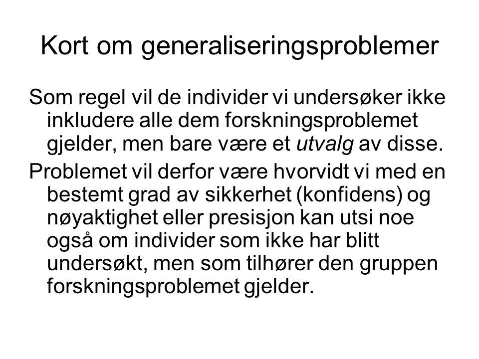Kort om generaliseringsproblemer