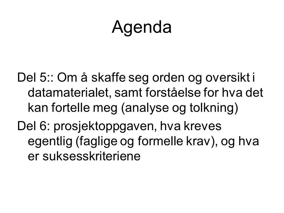 Agenda Del 5:: Om å skaffe seg orden og oversikt i datamaterialet, samt forståelse for hva det kan fortelle meg (analyse og tolkning)