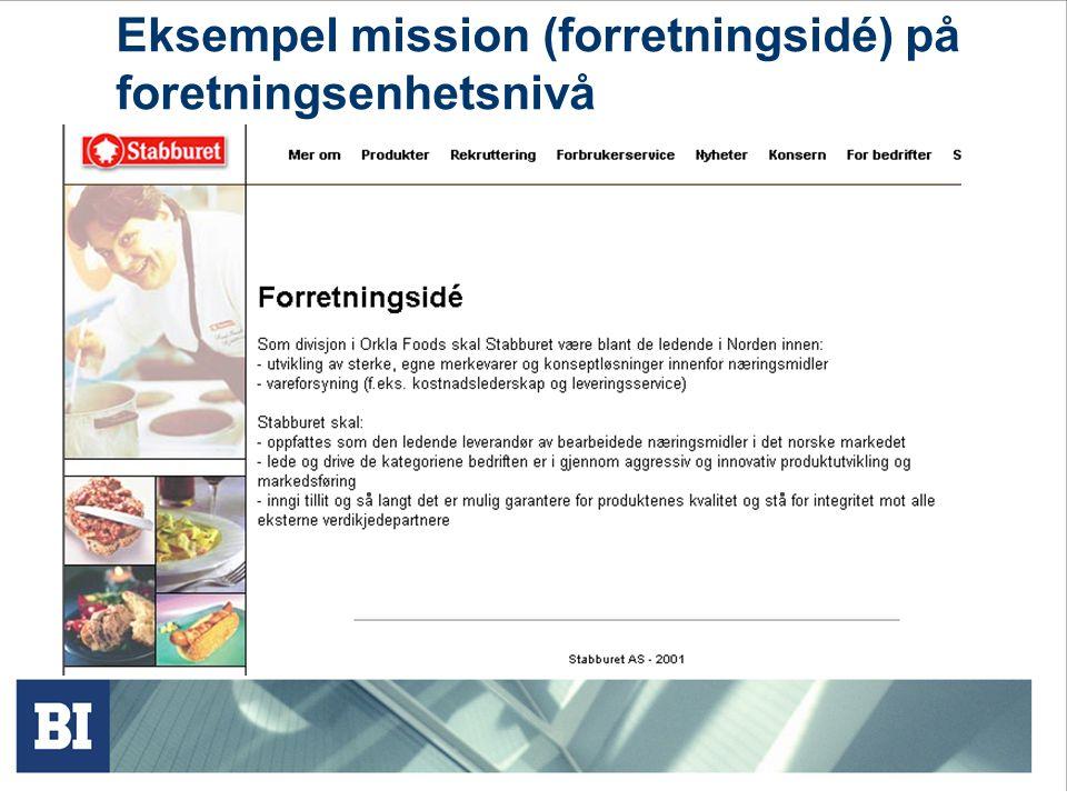 Eksempel mission (forretningsidé) på foretningsenhetsnivå
