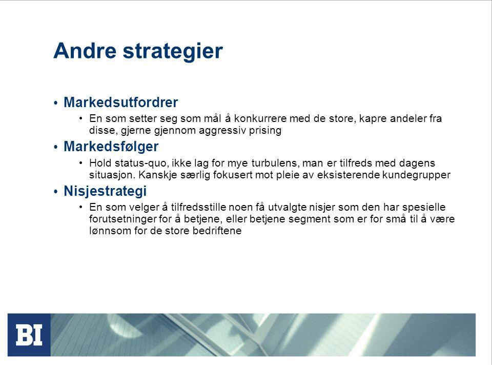 Andre strategier Markedsutfordrer Markedsfølger Nisjestrategi