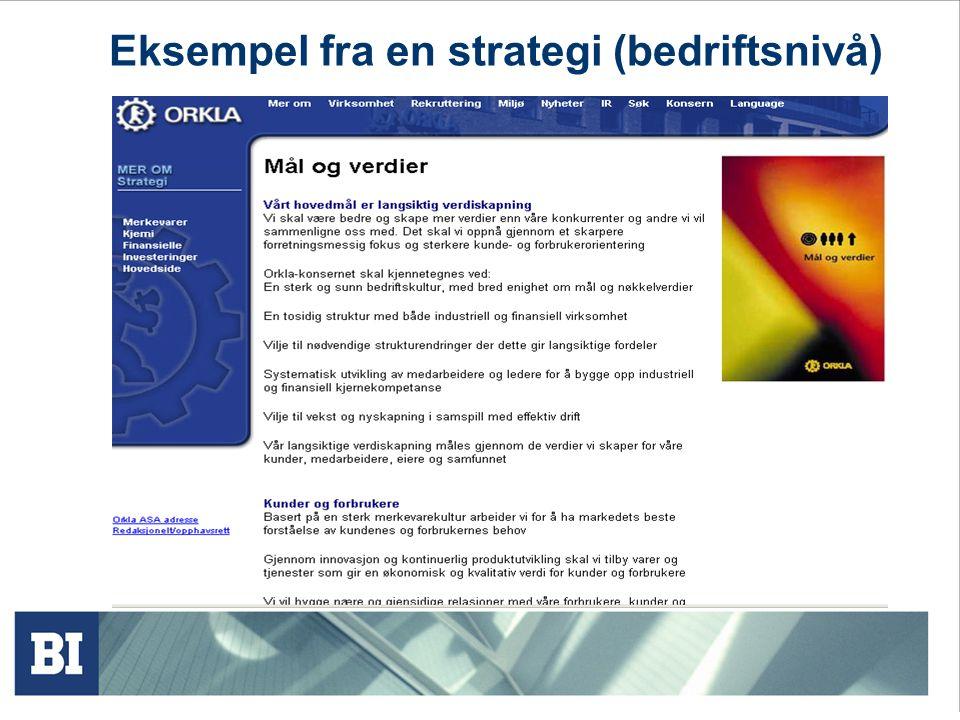 Eksempel fra en strategi (bedriftsnivå)