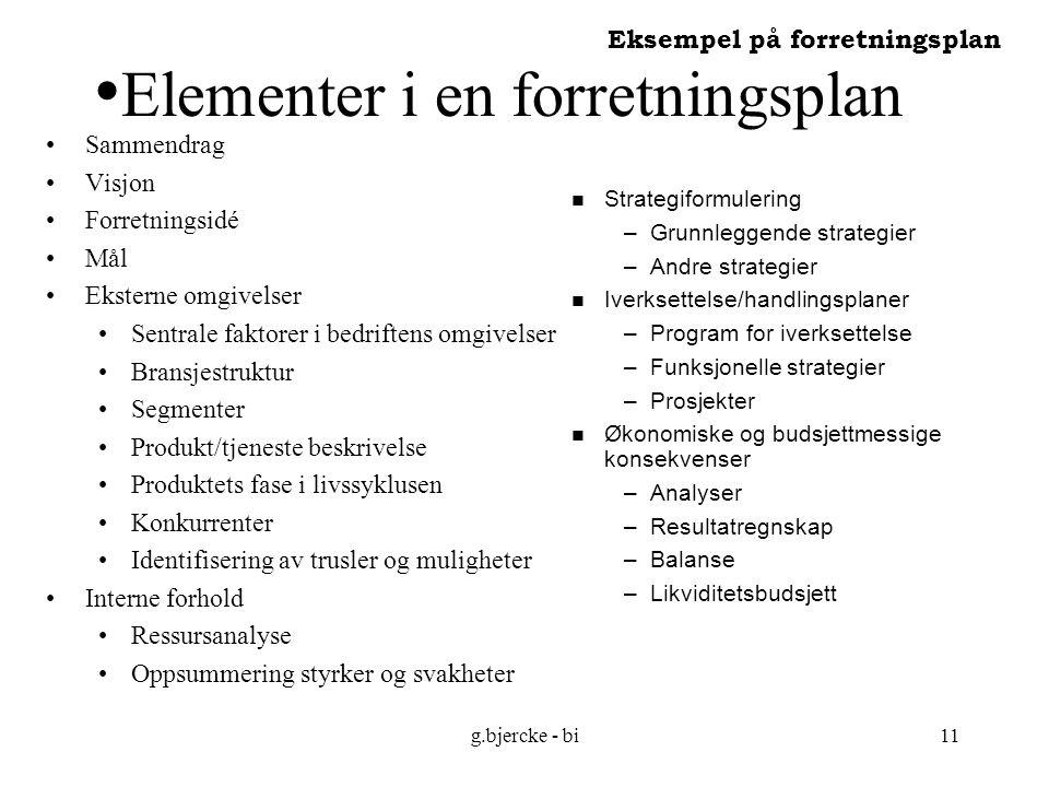 Elementer i en forretningsplan