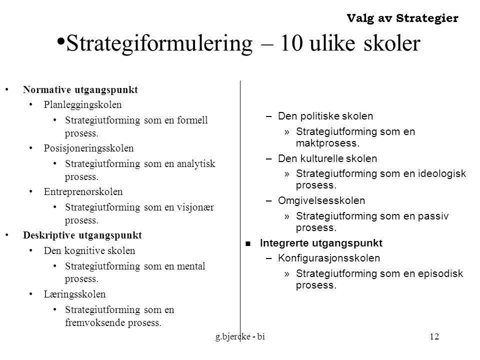 Strategiformulering – 10 ulike skoler